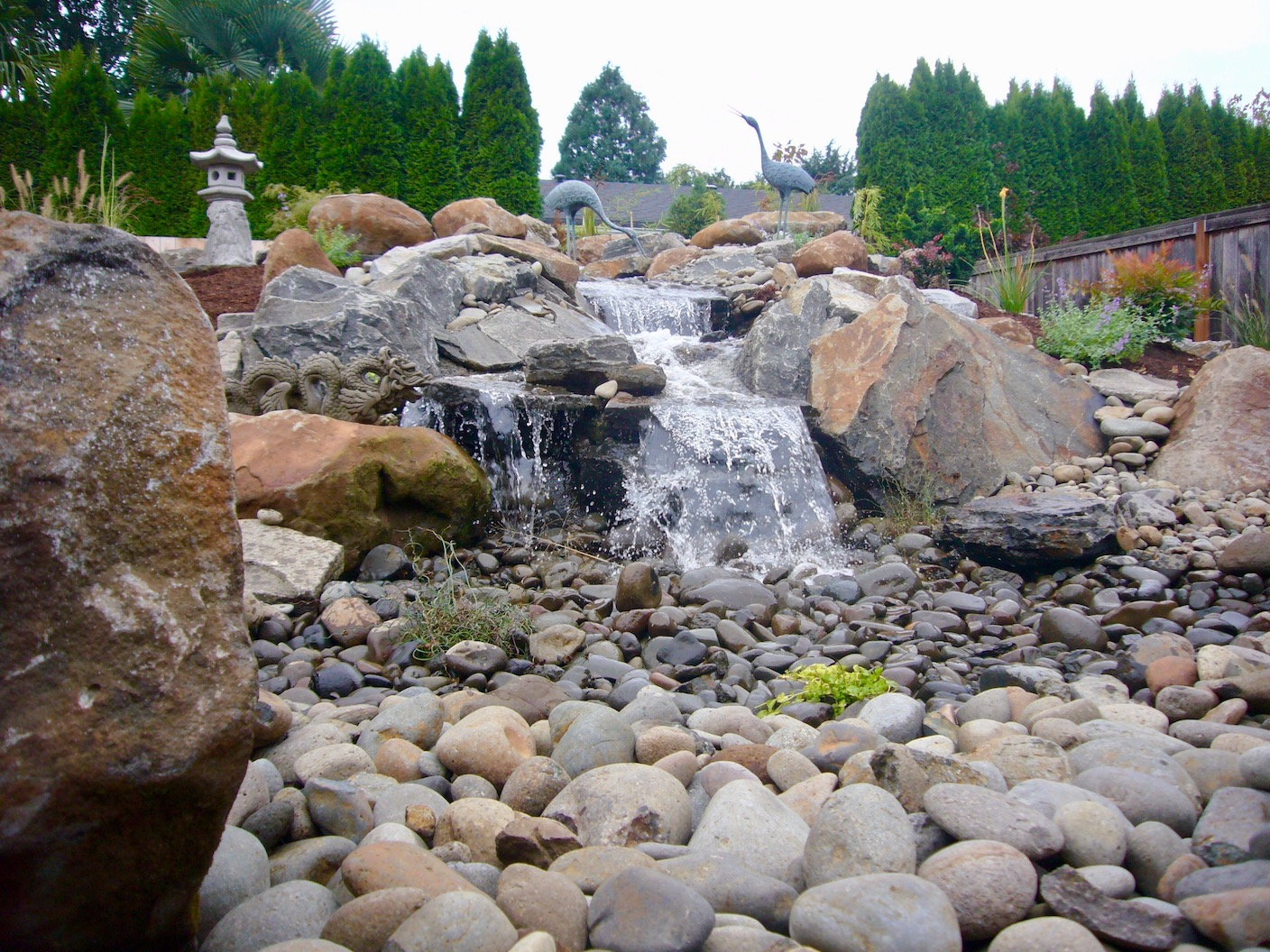 example of  one of Aurora Landscape's water features